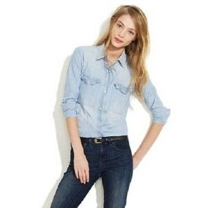 Madewell Light Chambray Button Down Top Size S